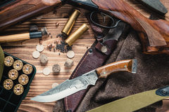 Set of  hunting equipment. On desk Royalty Free Stock Photos