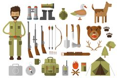 Set of hunting equipment and gear for hunt Stock Photo