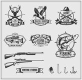 Set of hunting and fishing club badges, labels and design elements. vector illustration