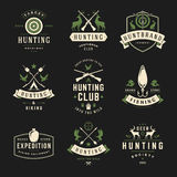 Set of Hunting and Fishing Labels, Badges, Logos Royalty Free Stock Photos