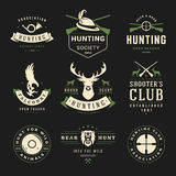 Set of Hunting and Fishing Labels, Badges, Logos Stock Photography