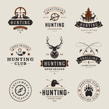 Set of Hunting and Fishing Labels, Badges, Logos Royalty Free Stock Image