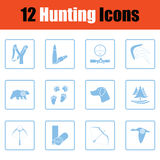 Set of hunting icons. Blue frame design. Vector illustration Royalty Free Stock Photography