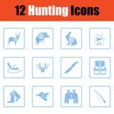Set of hunting icons. Blue frame design. Vector illustration Stock Photo