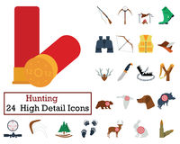 Set of 24 Hunting Icons. Flat color design. Vector illustration Stock Photos