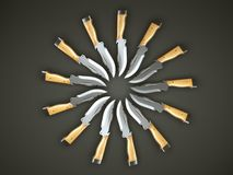 Set of hunting knives in the circle shape. Over grey Stock Images