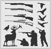 Set of hunting labels, badges and design elements. Vector Stock Images