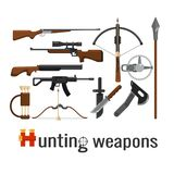 Set of hunting weapons, firearms and knives. On a white background Royalty Free Stock Photo