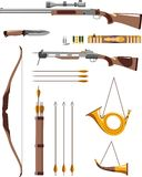 Set of hunting weapons Stock Images