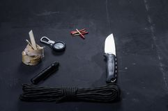 Set for huntsman and hunter. Tools for the tourist and the tramp. View of the composition at an angle stock photo