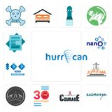 Set of hurrican, badminton, courage, 30 anniversary, tiara, judicial, 100 year nano, statement icons. Set Of 13 simple  icons such as hurrican, badminton Stock Images
