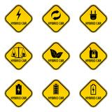 Set of hybrid car caution stickers. Save energy automobile warning signs. Eco transport symbols in yellow and black rhombus to a vehicle glass. Vector Stock Photos