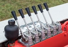 Hydraulic Switches. Set of 5 hydraulic swictes found on farm machines stock photography
