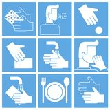 Set of hygiene related icons on white. Contains such icons as washing hands, cough, wash sponge, use sponge and more.  royalty free illustration