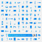 Set of hygiene stickers Stock Photos
