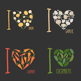Set: I love vegetables: carrots and garlic. Royalty Free Stock Photo