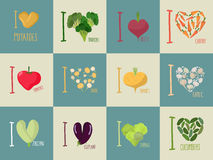 Set of I love vegetables: Eggplant and cucumber. Symbol of heart Royalty Free Stock Photo