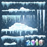 Set of ice caps. Snowdrifts, icicles, elements winter decor. New year decoration kit for website. Isolated snow caps set on menu b royalty free illustration