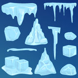 Set of ice caps snowdrifts and icicles elements winter decor vector. Stock Photography