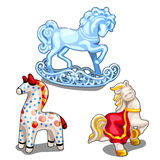Set of ice, ceramic and clay toy horse isolated. Set of ice, ceramic and clay toy horse, festive painted symbols of holidays. Vector illustration Stock Photos