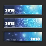 Set of Ice Cold Blue Horizontal Christmas, New Year Headers or Banners - 2018 Stock Image