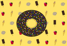 Set of ice-cream, big chocolate donut and cookies, on yellow background, vector illustration. Pattern of donut on yellow background, vector illustration stock illustration