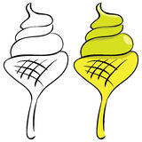 Set. Ice cream. Black outline and painted Royalty Free Stock Image