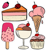 Set of ice cream and cakes Royalty Free Stock Photo