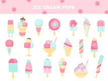Set of ice cream,card,poster, greeting, template,cone,sundea,scoop,Vector illustrations. Set of ice cream,card,poster, greeting stock illustration