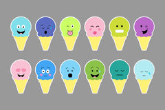 Set of ice cream, with color cream and different emotion face. Stock Image