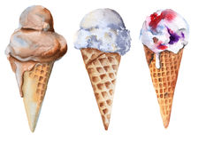 Set of ice cream in a cone. Chocolate, vanilla and fruit. Isolated on white background. Watercolor illustration Royalty Free Stock Photo
