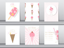 Set of ice cream cones. Design card. Vector illustrations Royalty Free Stock Photo
