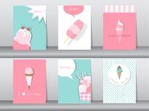 Set of ice cream cones. Design card. Vector illustrations Stock Photo