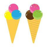 Set of Ice Cream Cones. Tasty Ice Cream Cones in multiple flavors Royalty Free Stock Photography