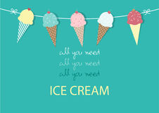 Set of ice cream,Design,card,Vector illustrations Stock Image
