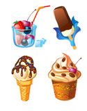 Set of ice-cream with fruits Stock Photography