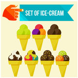 Set of ice cream horns Royalty Free Stock Photo
