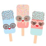 Set ice cream, ice lolly Kawaii with sunglasses pink cheeks and winking eyes, pastel colors isolated on white background. Vector. Illustration Stock Photography