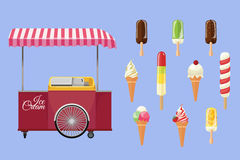 Set of ice-cream icons and ice-cream shopping cart Stock Images