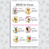 Set Ice Cream Menu for Cafe and Restaurant with price. Hand draw Stock Photography