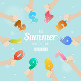 Set of ice cream number with hand up on summer concept Stock Photo