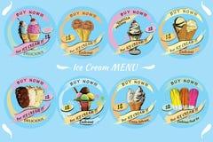 Set Ice Cream for sale with price. Hand drawn template menu, bro Stock Photos
