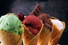 Set of ice cream scoops of different colors and flavours with be Royalty Free Stock Image