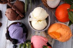 Set of ice cream scoops of different colors and flavours with be stock image