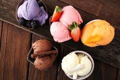Set of ice cream scoops of different colors and flavours with be Stock Photography