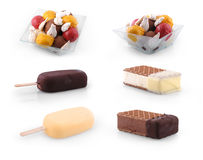 Set of Ice cream scoops , stick & biscuit Stock Photography