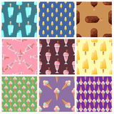 Set ice cream seamless pattern background cartoon colorful dessert vector illustration sweet snack  icon cone Royalty Free Stock Photo