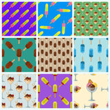 Set ice cream seamless pattern background cartoon colorful dessert vector illustration sweet snack isolated icon cone Stock Images