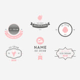 Set of ice-cream shop labels, logotypes and design elements. Vin Stock Images