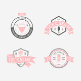 Set of ice-cream shop labels, logotypes and design elements. Vin Stock Image